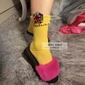 Женские носки кучи носки DIY пользовательских моделей конфеты цветные драгоценные блестки мухомор укороченным стволом хлопчатобумажные носки