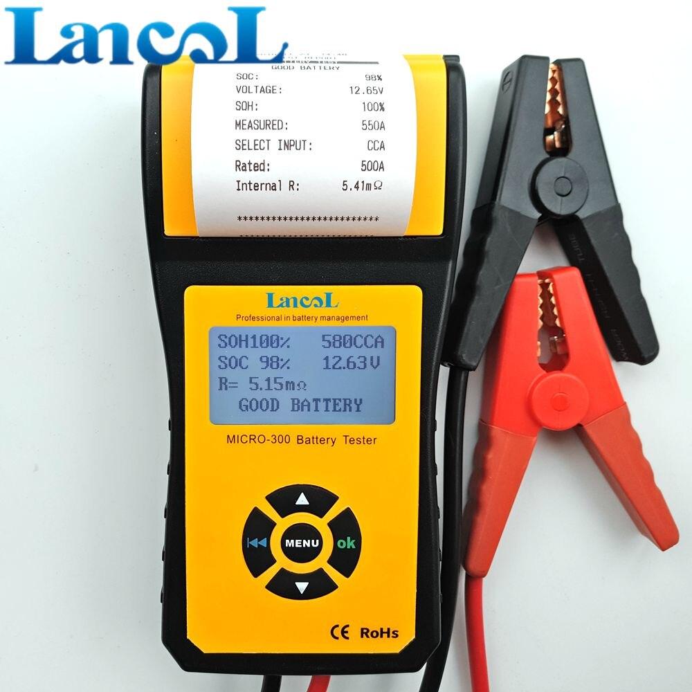 LANCOL MICRO-300 בודק טען סוללה עם מדפסת דיגיטלי לרכב 12 V רכב כלי אבחון בודק קיבולת סוללה