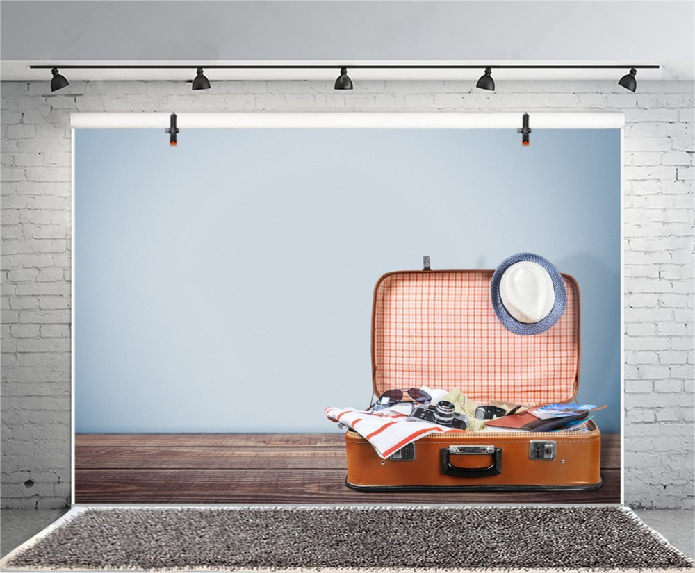 Laeacco Wooden Floor Suitcase Camera Photographic Backgrounds Customized Photography Backdrops For Photo Studio