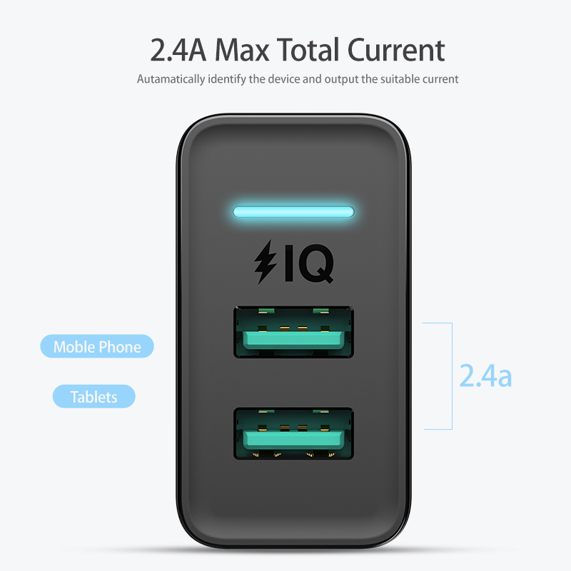 Image 4 - FLOVEME Dual USB Charger 5V 2.4A Fast Charging Wall Charger Adapter EU Plug Mobile Phone For iphone ipad mini Samsung Xiaomi-in Mobile Phone Chargers from Cellphones & Telecommunications