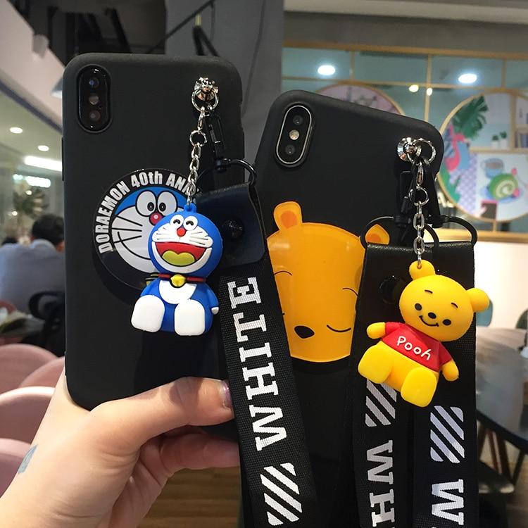 For Xiaomi 8 8se Case, Cute minnie mickey pooh Soft Case for Xiaomi redmi 5/5A/5plus /redmi note 5 case + toy stander + Strap