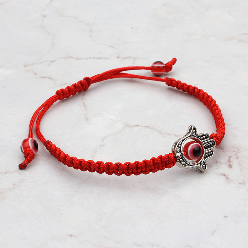 Evil Eye Fashion Red Bracelet Braided Rope Chain Women Hamsa Hand Charm Bracelets For Good Luck Gifts
