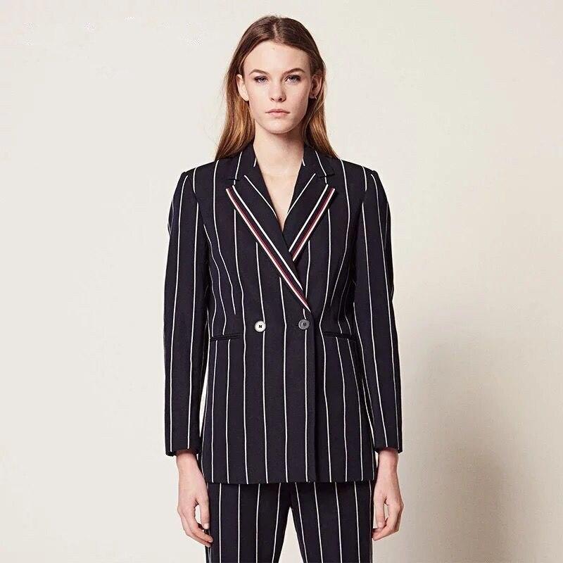 2019 nowych kobiet komplet garniturów pionowy pasek z długim rękawem i długie spodnie urząd Lady modny zestaw w Zestawy damskie od Odzież damska na  Grupa 2