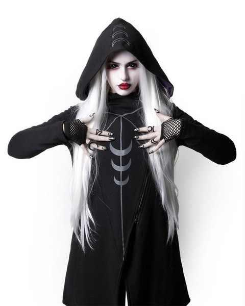 Женский косплей с капюшоном вампир костюм Хэллоуин готический черный Куртка Луна пальто стимпанк с капюшоном пальто плюс размер
