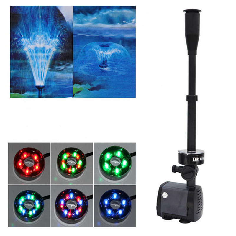Changing 40W 2000L/H Fish Tank LED Fountain Pump Aquarium Pond Garden Fountain Submersible Pump Decoration Water Pump with LED