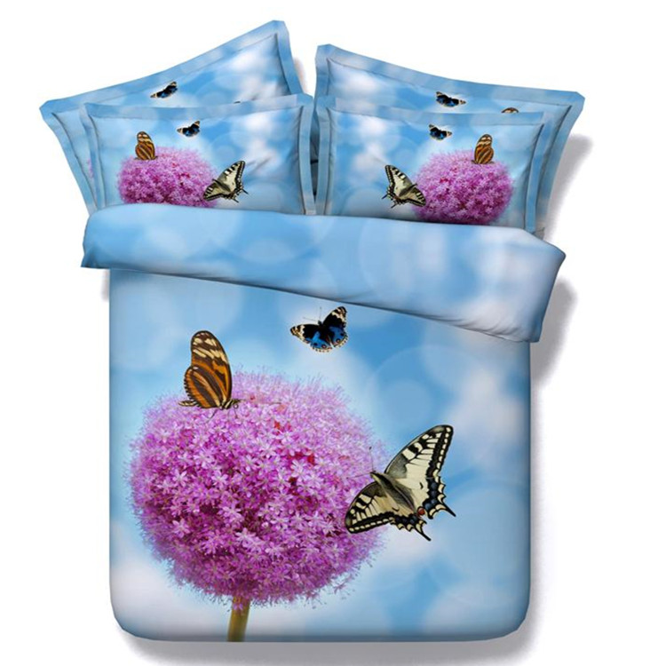 Free shipping 4/5pcs twin/full/queen/king/super king size 3d modal cotton butterfly&purple flower bedding set with filling