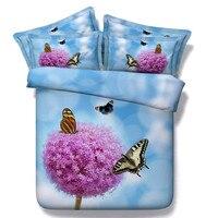 Frete grátis 4 / 5 pcs gêmeo / full / queen / king / super king size 3d modal algodão borboleta & flor roxa jogo de cama com enchimento