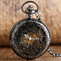 Fashion Steampunk Gear Skeleton Mechanical Half Hunter Roman Numerals Pocket Watch Pendant Fob Chain Women Men Gifts