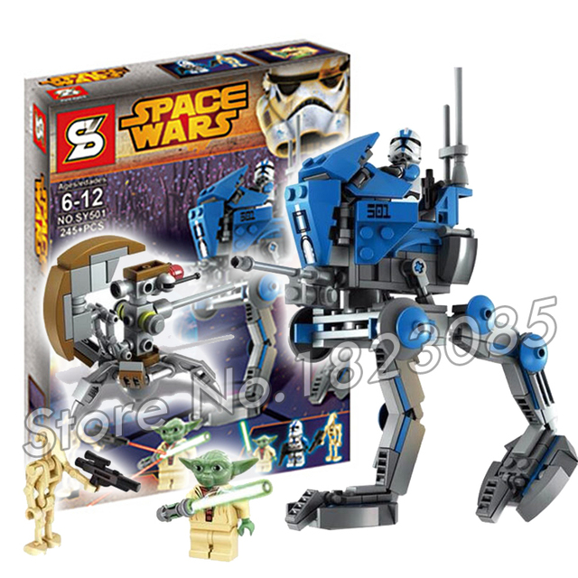 245 unids sy501 bela bloques de construcción modelo de star wars at-rt francotirador droide de batalla soldado yoda compatible con lego
