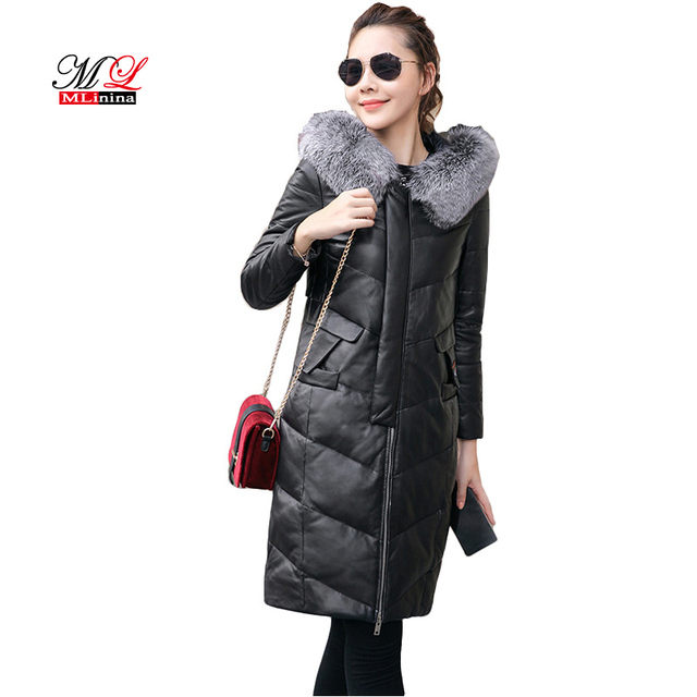 4864dfa68 US $89.04 48% OFF|MLinina Winter Coat Women Slim Embroidery Faux Leather  Jacket Zipper Outerwear Long Faux Fur Collar Hooded Coats Plus Size 4xl-in  ...