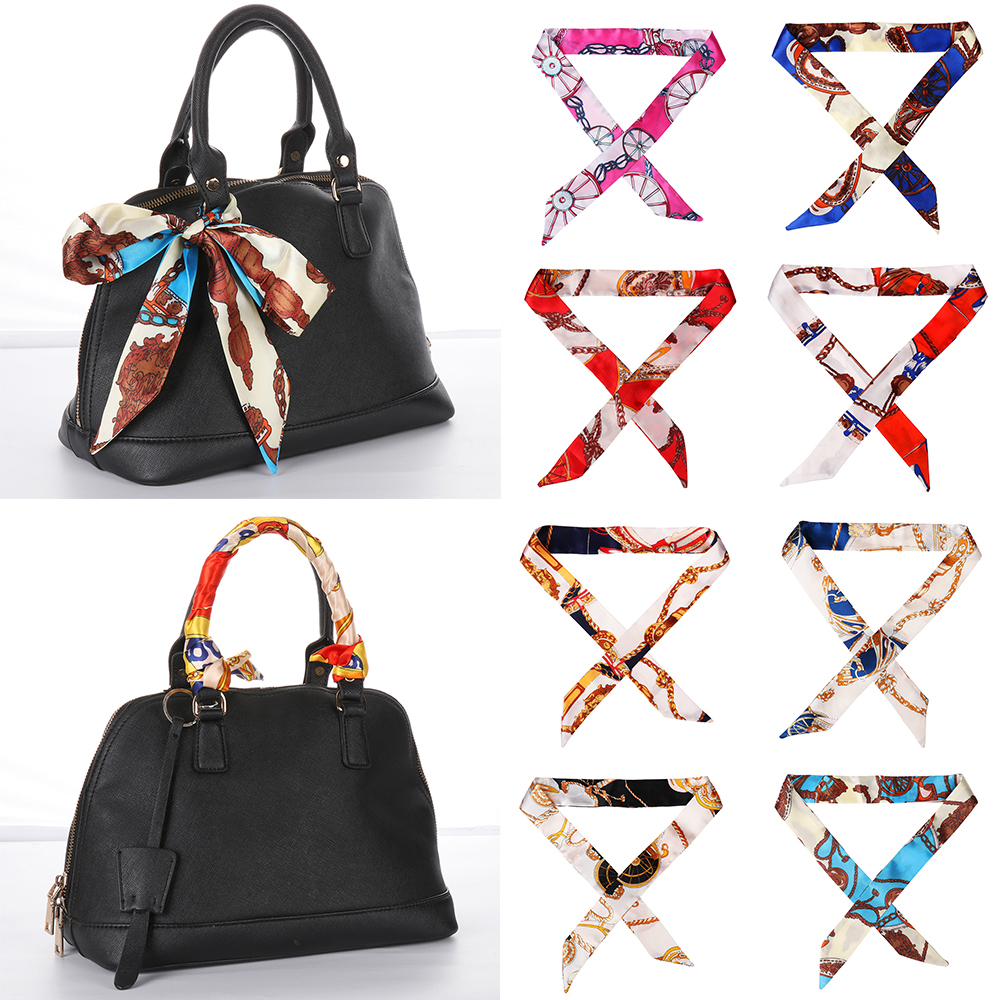 1PC Hot Mini Twill Floral Scarf Handle Tie Bag Belt Strap Handbag Accessories Headband Ribbon Bow Tie Decoration Bag Accessories