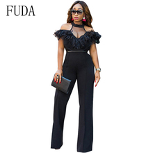 FUDA Off Shoulder Sexy Jumpsuit Elegant Halter Lace Ruffles Overalls Clubwear One Piece Long Wide Leg Rompers Womens Jumpsuit