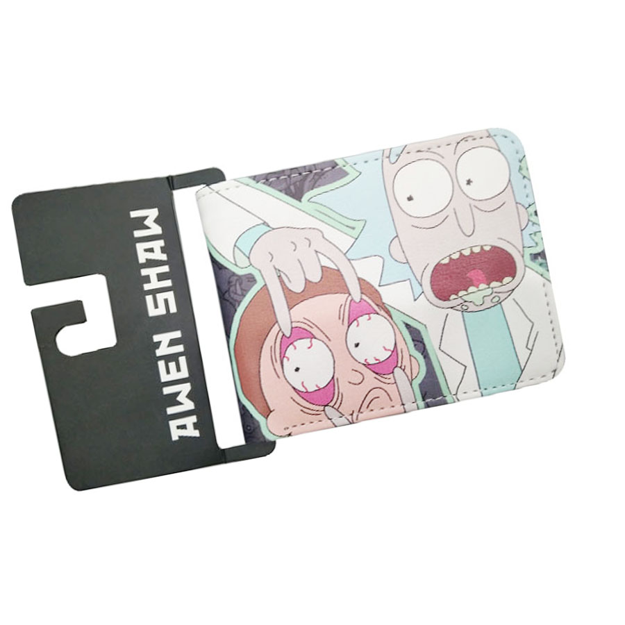 New Arrival Cartoon ComedyCute Ricky And Morty Anime WalletShort Leather Men Purse Slim Simple Design Women Bifold Prints Wallet rick and morty pu faux leather bifold wallet dft 10089