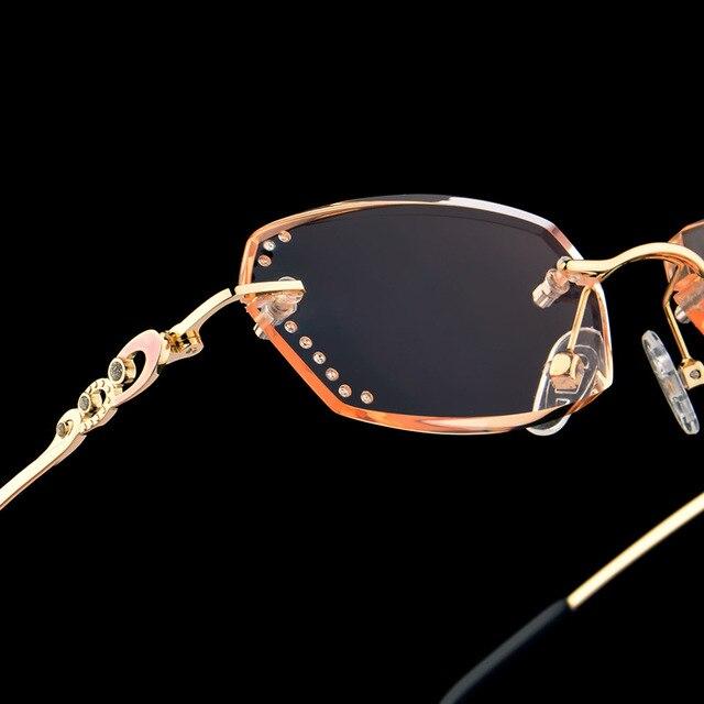 9daf5421886b Luxury Rhinestone Reading Glasses Women Diamond Cutting Rimless Glasses  High Clear Women s Golden Readers Presbyopic Eye Glasses