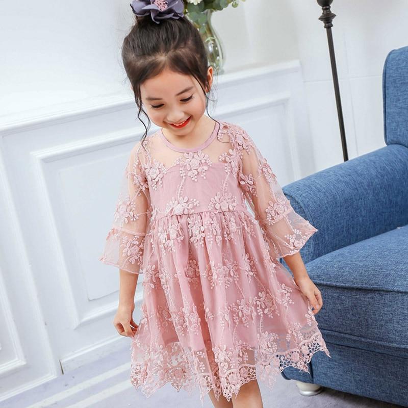 Elegant Lace Flower Girls Dress 2018 Summer Fashion kids Clothes 3 4 5 6 7 8 Year Children Princess Dresses for Wedding Party