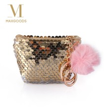 Shiny Mermaid Bag Shape Keychain Lovely Plush Ball Sequin Keyring Zipper Small Wallet Key Chain Handbag Purse Pendant Jewelry(China)