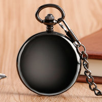 Retro Double Face Roman Numerals Skeleton Smooth Back Mechanical Pocket Watch Pendant Men Women With Chain