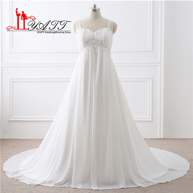 Plus Size Cheap Wedding Dress For Pregnant 2017 A Line Spathetti Straps Sweetheart Lace Beaded