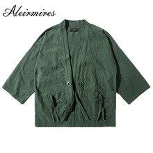 High Street Japanese Style Men Kimono Jacket Spring Autumn Three Quarter Sleeves Cotton & Linen Drop Shouder Kimono Coat