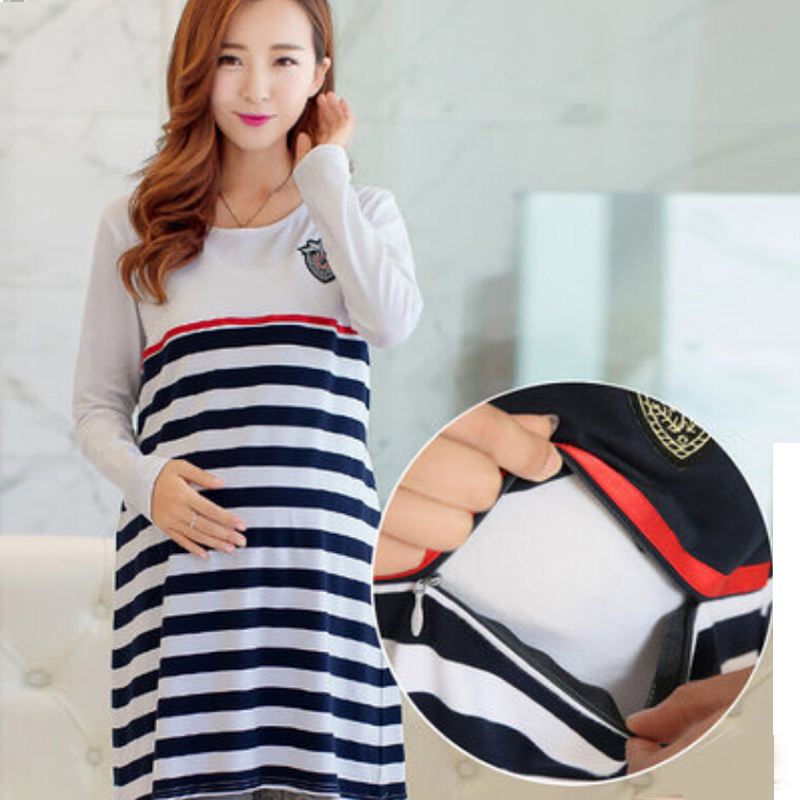 Maternity Clothing Casual Women Clothes Striped Moderskapsklänning Nursing Dress Long Sleeve Gravid Women Bröstmatning Klänning