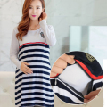 Maternity Clothing Casual Women Clothes Striped Maternity Dress Nursing Dress Long-Sleeve Pregnant Women Breastfeeding Dress