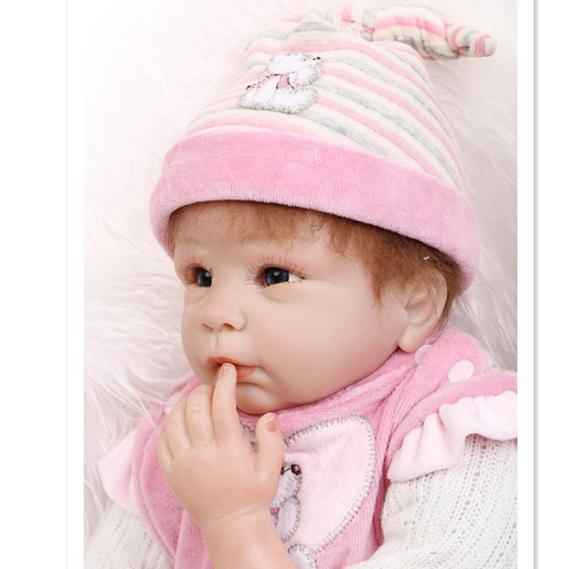 20 Silicone Reborn Baby Dolls Newborn Doll Toys for Girls,20 Inch Real Reborn Babies Doll Baby Toys with Clothes and Hat 20 real reborn babies bonecas newborn baby dolls with clothes lovely reborn silicone baby dolls educational toys for children