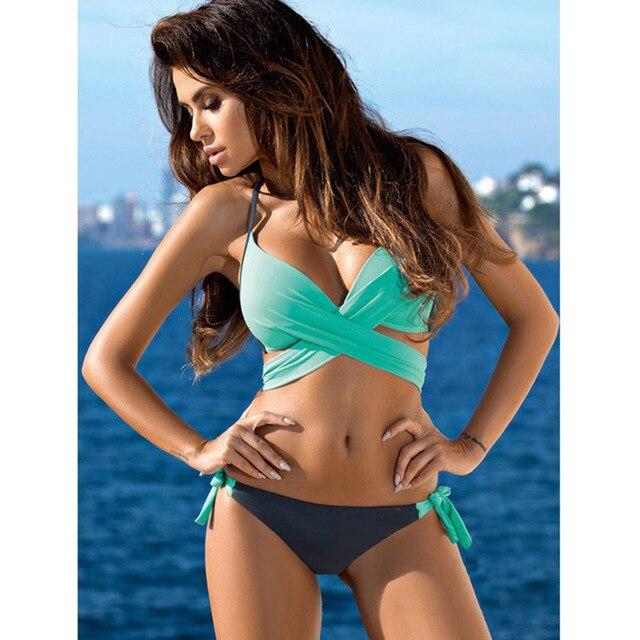 Vestido de baño bikini combinado top cruzado 2