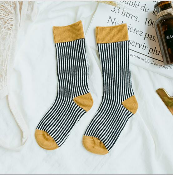 Combed cotton kids stockings spring autumn children vertical strip color matching Luokou stockings 6