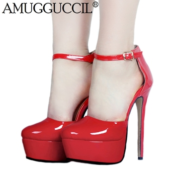 2020 New Plus Big Size 35-52 Red Buckle Fashion Sexy High Heel Platform Party Wedding Spring Female Lady Shoes Women Pump D1295