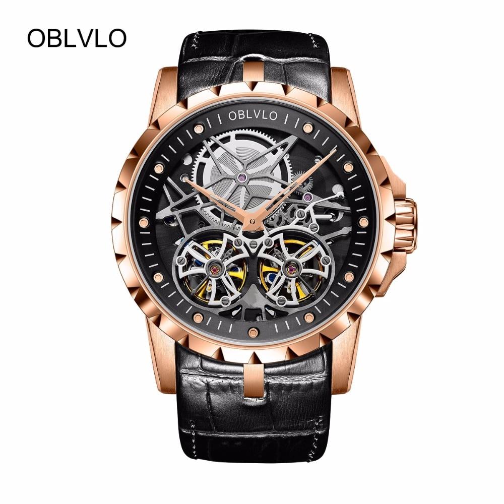 68370155ad5 2018 New Arrival OBLVLO Luxo Relógios Turbilhão Automático de Ouro Rosa  Transparente OBL3606 Militar Relógios Homens
