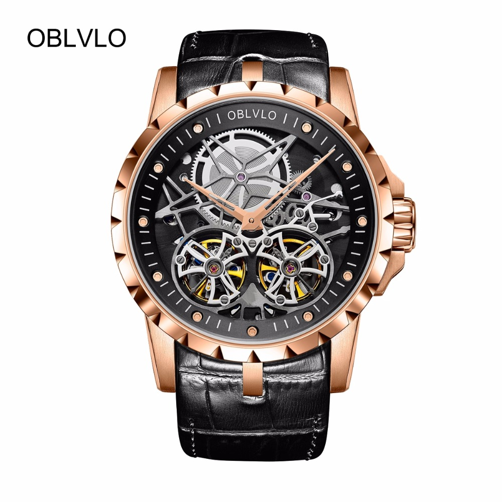 2018 New Arrival OBLVLO Luxury Rose Gold Transparent Watches Tourbillon Automatic Military Watches Men Relogio Masculino