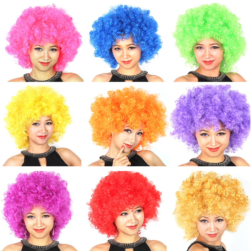 Free shipping fans explosive head wig dance bar wedding party dress performance props wig Funny fluffy funny clown wig caps