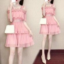 цена на Summer Boho Dress 2019 Women Chiffon Dress Off Shoulder Short Sleeve  Ruffle Pink Bohemian  Dress