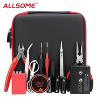 ALLSOME Portable DIY Coil Father Vape Tool V2 Cigarette Tool Kit Ceramic Tweezer Winding Bar Ohm Tester jig Wire Pliers HT2019