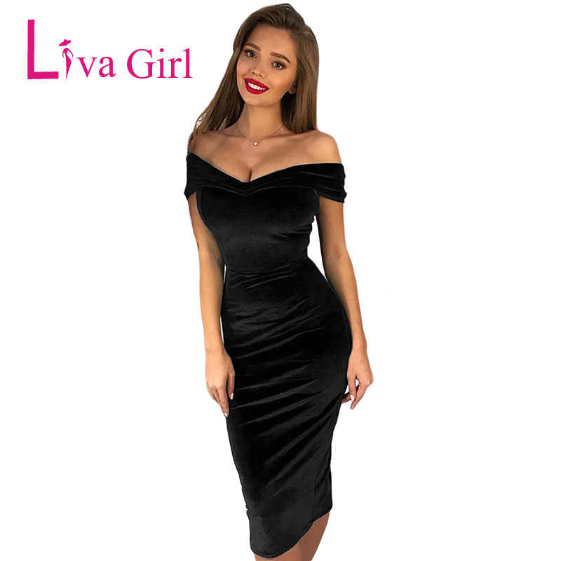 ff4c776e94 ... LIVA GIRL Chic Velvet Sexy Bodycon Midi Dress Women Off Shoulder  Elegant Ruched Party Dresses Club