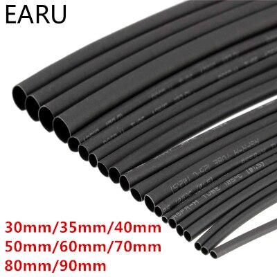 Round Diameter 30mm/35mm/40mm/50mm/60mm/70mm/80mm/90mm Length 1M Heat Shrink Tubing Shrinkable Tube Black Wire Wrap ksol 2mm 6m 15mm 5m 30mm 1m 70mm 1m 8mm 5m 5mm 6m 12mm 10m 2 1 black polyolefin insulation heat shrink tubing