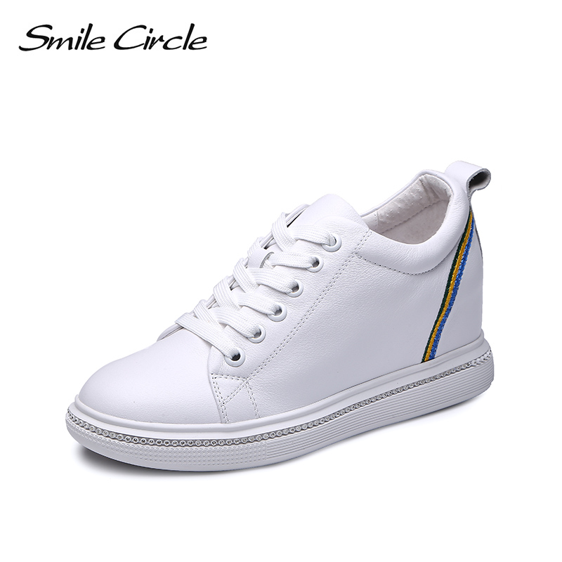 Smile Circle Wedges Sneakers Women Genuine Leather Platform Shoes For Women 2018 Autumn Lace up Casual