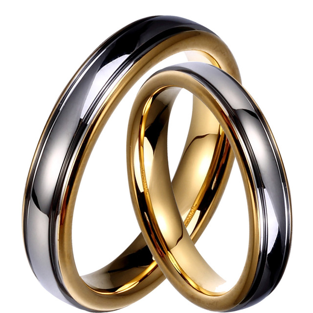 Tungsten Couple Rings Gold & Silver