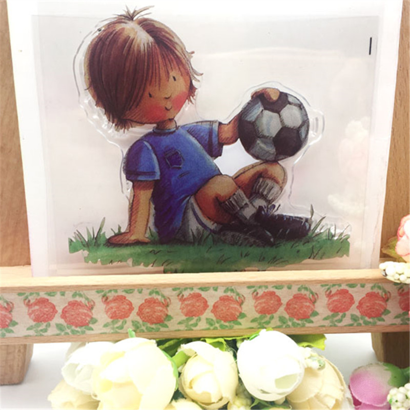 Strongly Football Boy Transparent Clear Stamp DIY Silicone Seals Scrapbooking/Card Making/Photo Album Decorative Accessories football cart remote control robot football science model diy scientific experiments for schoolchildren