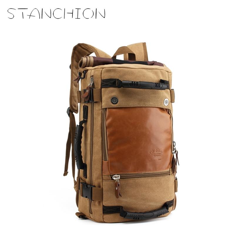 STANCHION Travel Large Capacity Backpack Male Messenger Shoulder Bag Computer Backpacking Men Multifunctional Versatile Bag