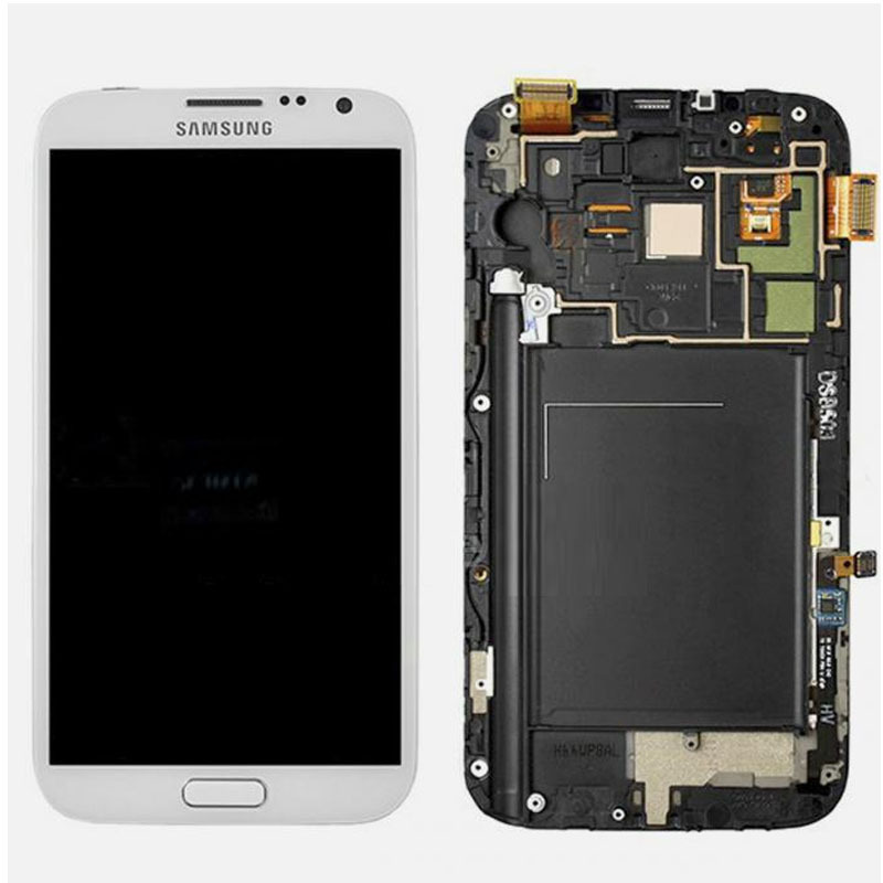 FOR Samsung Galaxy Note 2 L900 i605 LCD Screen Touch Digitizer + Frame White