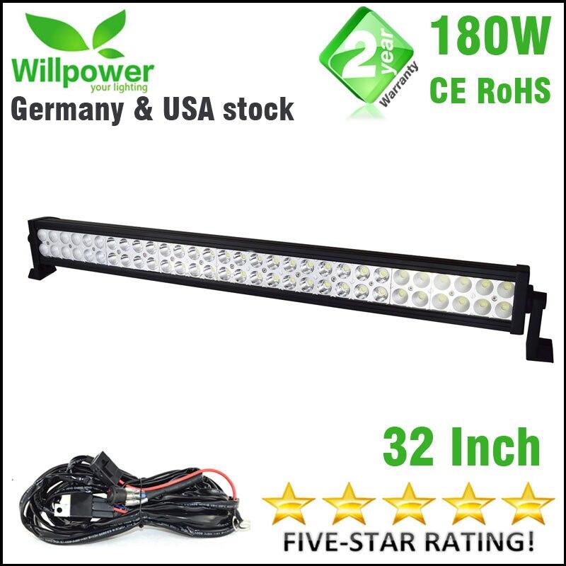 180W 32'' inch 18000lms combo Beam driving light led car 4x4 offroad LED Light Bar work light 12v wiring harness