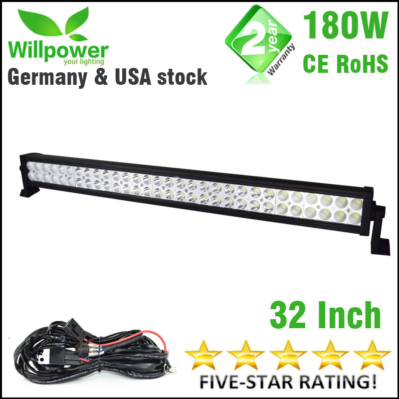 180W 32'' inch 18000lms combo Beam driving light led car 4x4 offroad LED Light Bar work light 12v wiring harness-in Light Bar/Work Light from Automobiles & Motorcycles    1