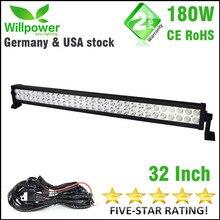 """ENVÍO gratis 180 W 32 """"pulgadas 18000lms combo Haz de luz de conducción del led coche 4×4 offroad LED Light Bar luz de trabajo 12 v arnés de cableado"""