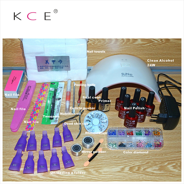 2016 Fashion Female Nail Tool Kit 24W US / EU Plug LED Light Nail Dryer Nail Art Tool SET FOR WOMEN,6+2 gel choose 132 color
