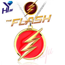 Marvel Comics Superhero The Flash Flashman Necklace Lightning Logo Metal Gaes Pendant Necklaces Moive Chain Fashion Jewelry