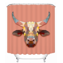 Simple Solid Cat Wolf and Cow 3d Geometric Animal Head Shower Curtains Bathroom Curtain Waterproof Thickened Bath