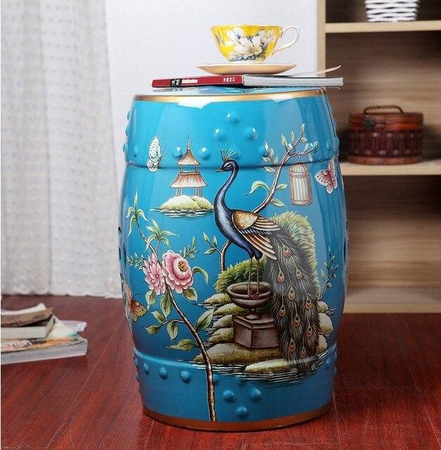 Cor azul vitrificada chinesa porcelana jardim stool