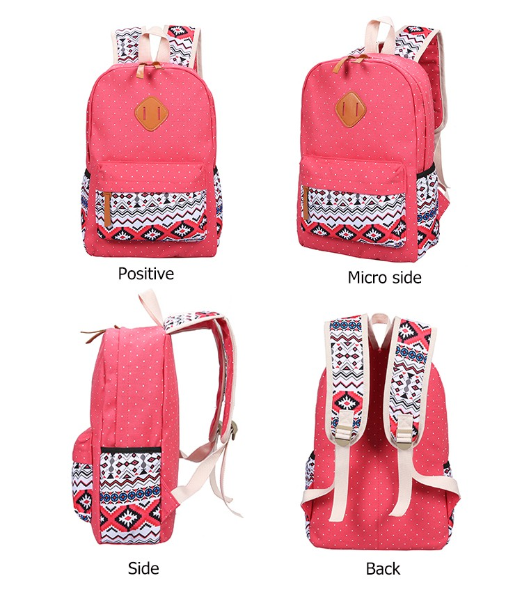 b1872d28e8a8 Backpacking Backpack Set Canvas Printing Backpack Women Cute Lightweight  Bookbags Middle High School Bags for Teenage Girls