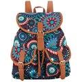ótimo nova chegada 30 cores exclusivo drawstring feito à mão boêmia vintage canvas impressão com PU mochila feminina meninas o saco da escola mochila escolar aluna bolsa feminina
